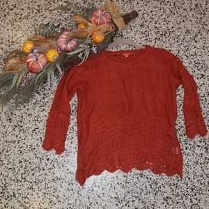 Modcloth Soft Crochet Knit Orange Sweater